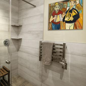 Towel Warmer and Colorful Painting