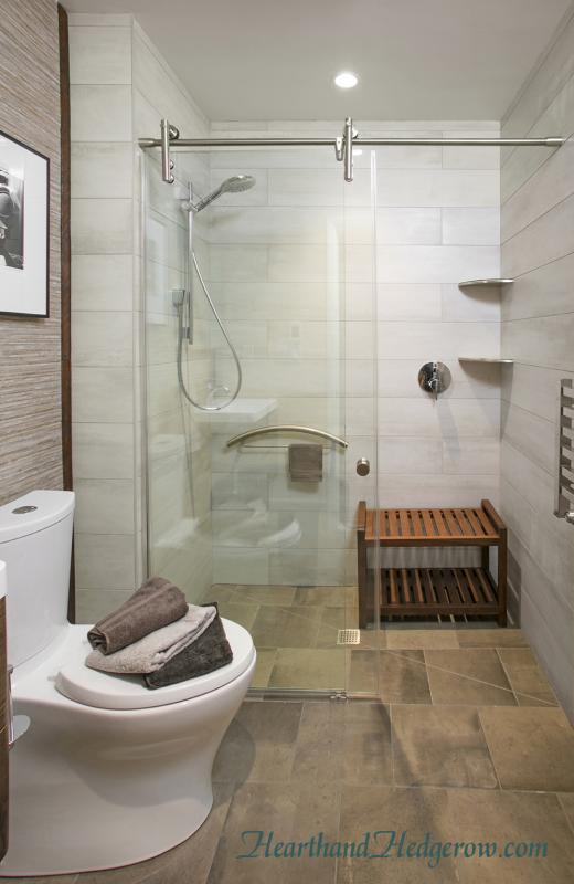 Grab Bar and Bench for an Accessible Shower