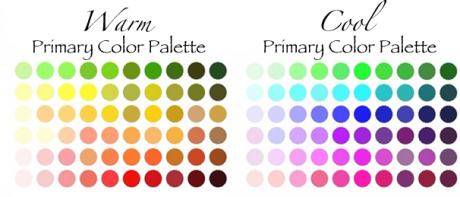 warm vs cool colors, color palette, color chart
