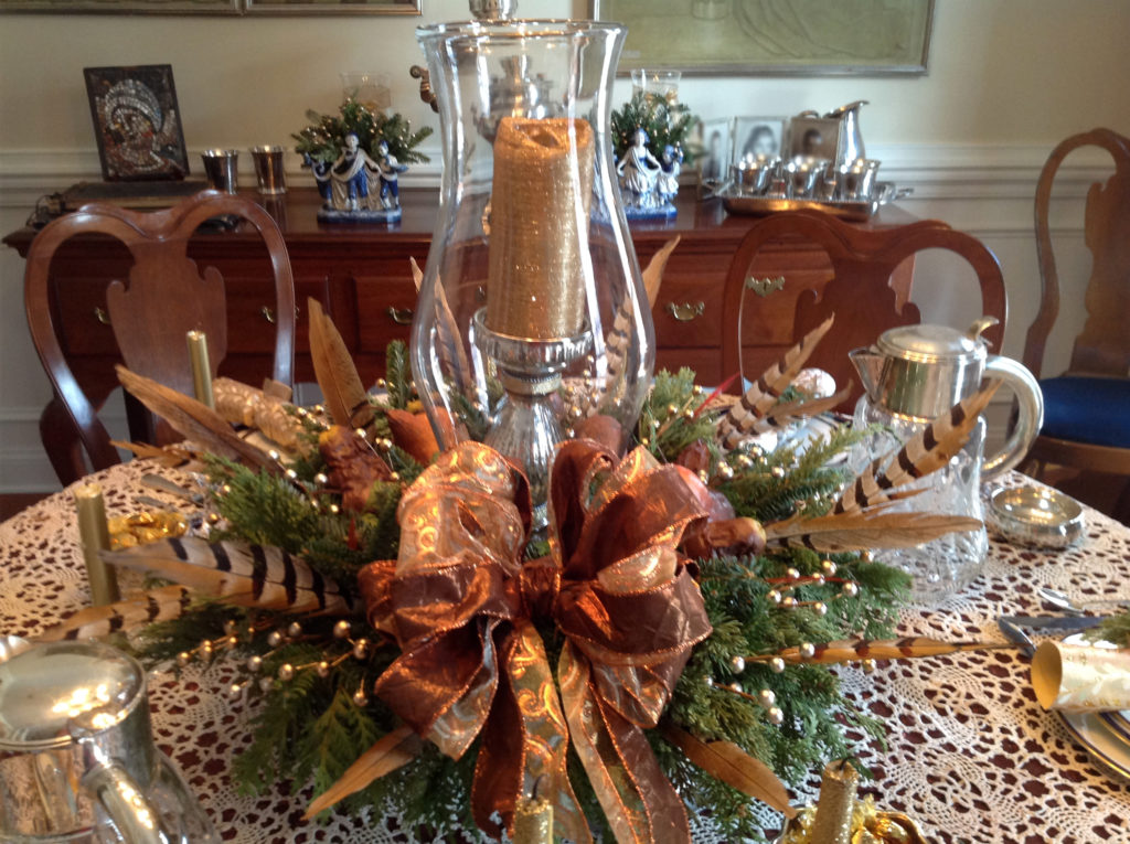 Traditional Centerpiece with Glass Hurricane
