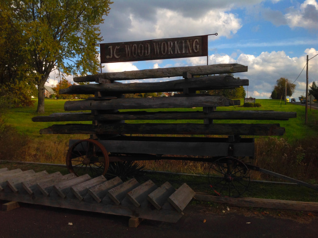 Roadside signage, rustic, barn beams, wagon, J C Woodworking