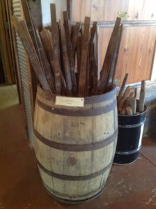 Tobacco Sticks in an old wood barrel.