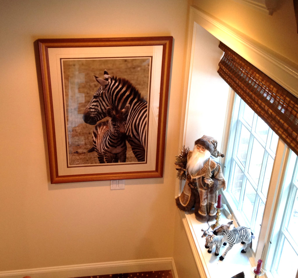 Woodland Santa and stuffed zebras. Zebra wall art.